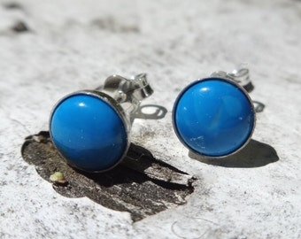 Tiny Turquoise Studs - Sterling Silver Stud Earrings