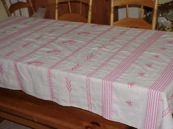 Vintage pink and white design cotton tablecloth 52 x 84 for White cotton table cloth