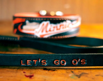 Matching Collar and Leash Set - Custom Designed Leather Dog Collar Leash Combo - 1.5 inch Wide Premium Leather