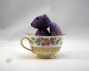 READY TO SHIP Hand Knit Wisteria Purple Squirrel Plush