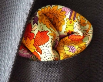 Aqua, Gold, and Purple Floral Print Pocket Square With Hand-Rolled Hems