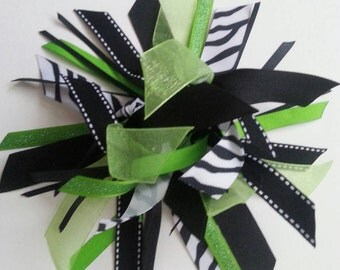 Ribbon Ponytail Streamer in Lime, Black, and Zebra Print