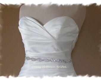 SALE - Jeweled Bridal Sash, 18 Inch Rhinestone Wedding Belt, Crystal Sash, Crystal Rhinestone Belt, Rhinestone Bridesmaid Sash, No. 5050S-18