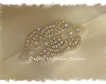 Rhinestone Wedding Headband, Beaded Rhinestone Crystal Bridal Headband, Rhinestone Headpiece, Jeweled Hair Comb, Boho Headband, No. 1141HB