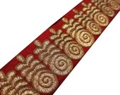 Indian Floral Embroidered Sewing Lace Trim Designer Border Floral Embroidered Velvet Red Trim Crafting Sew Sari Border Lace By 1 Yard FT505F