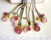 Marsala Bridesmaids Necklaces, Custom jewelry for Bridesmaids, Color Board, Marsala, dusty pink and Olive, Gift from Bride to Bridesmaid