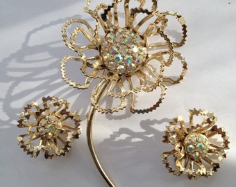 Sale Vintage Sarah Coventry Demi Parure Allusion Brooch Earrings