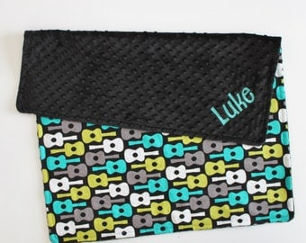 PERSONALIZED Baby Guitar and Black Minky Blanketm or Lovey
