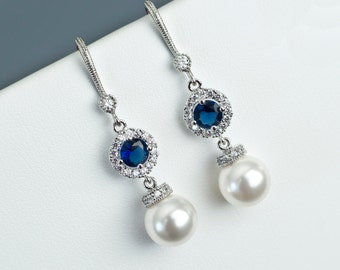 Bridal Earrings, Bridal Pearl and Blue Sapphire Earrings, Something Blue Earrings, Wedding Jewelry, Bridal Jewelry