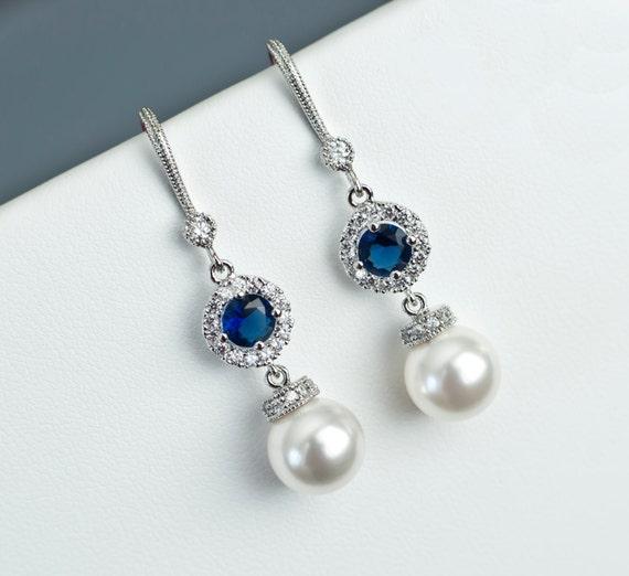 Bridal Earrings Bridal Pearl And Blue Sapphire Earrings