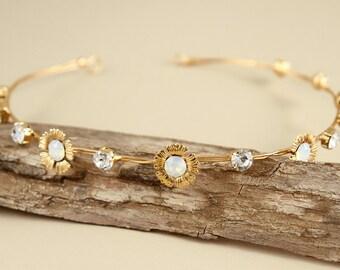 bridal Gold Hair accessories/ bridal gold headband/ gold flower crown/ wedding headband/ opal rhinestone headband/ Greek Goddess Headband