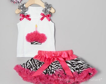 Girls Birthday Hot Pink & Zebra Cupcake 1 Candle Pettiskirt Set - Matching Flower Bow Included