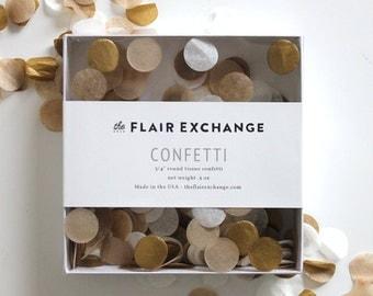 Wedding Confetti - Hand-Cut Confetti - Golden : Metallic Gold, Kraft, White