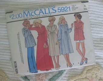 McCall's Size 8 Maternity Dress or Top and Pants or Shorts Pattern 5921