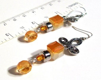 "Dangle Earrings, High Quality Crystal, Orange Dangle Dangle Earrings, 2.5"" Dangle Earrings"