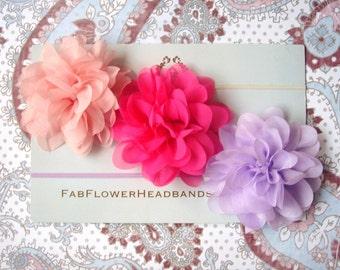 Set of Three Flower Headbands - Set of 3 Baby Flower Headbands - Newborn Flower Headbands - Flower Newborn Headbands - Skinny Elastic