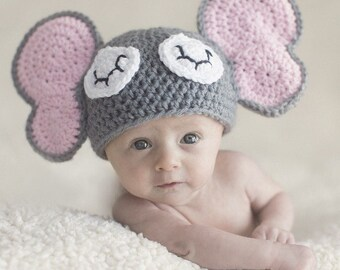 Crochet elephant hat newborn elephant hat newborn photo prop grey elephant hat pink elephant hat baby elephant hat knit elephant hat