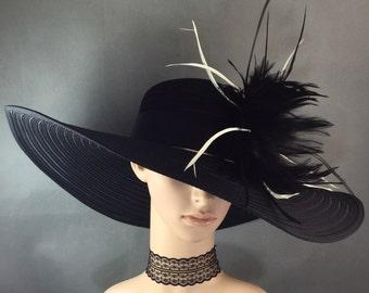 Wide brim Derby Hat , Fascinator, Church Hat,Dress Hat ,BLACK Kentucky Derby Hat ,Women's Wedding Tea Party Ascot Wide brim Hat funeral hat