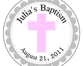 baptism labels, baby baptism stickers, pink cross stickers, pink and gray dedication labels, 3 sizes available