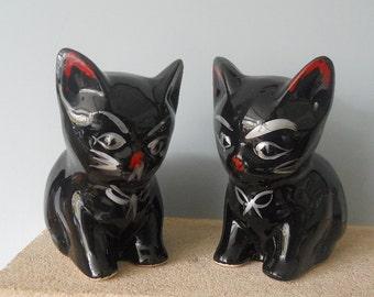 PAIR of Retro Cat Kitten Figurines Vintage 50s 60s Black Cat Ornaments
