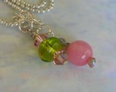 Long Casual Necklace,Pink Green Stone Crystal, 22 inch Necklace, Mystic Amethyst, Amethyst Glass Stone Charm Necklace Pendant