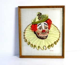 Vintage  Handmade Hand-Stiched/Crewel Clown Portrait