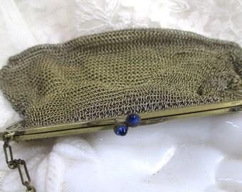 Chain Mail Mesh Purse Lisner & Co. Sapphire Blue Clasp  Deco Bridal Wedding Evening Bag