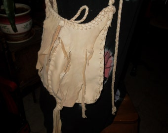 Hand Laced Ivory Deerskin fully lined in taupe color leather Foot Ball Bag shoulderbag crossbody bag