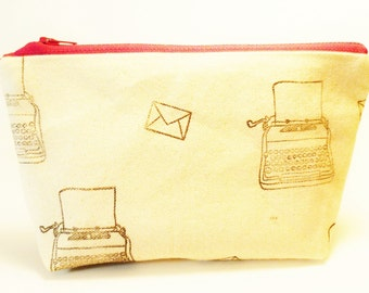 Typewriter Stamped Zip Pouch