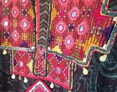 Vintage Green Afghan Embroidered Dress L-XL