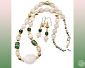 """20"""", Pink Rose Quartz, Green Lampwork Wedding Cake Beads, Necklace, And/Or Earrings, 18K Gold Vermeil Hearts and 14k Gold-Filled Components"""