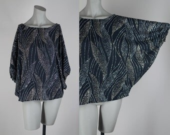 SALE Vintage 80s Oversized Top / 1980s Silver and Gold Glitter Sheer Black Batwing Tunic Top XS S M