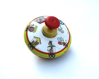 1950s Ohio Art Spinning Top, Mid Century Spinning Top, 1950s 1960s Childs Toy