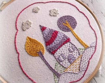 Little houses embroidery pattern
