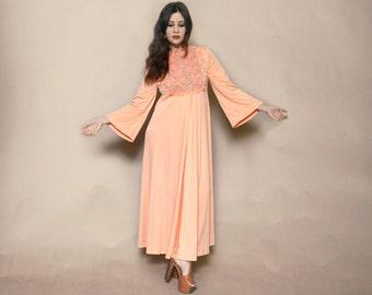 Embroidered Maxi Dress 70s Angel Sleeve Peach Sheer Embellished Bib Boho 1970s Caftan Hippie Lilli Diamond / Size M L Medium Large
