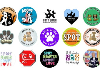 "Spay Neuter Magnets, Spay Neuter Pins, Fund Raiser Magnets, Adopt Dont Shop Pins, Fund Raiser Pins, Fridge Magnets, 1"" Flat, Hollow Bk,12 ct"