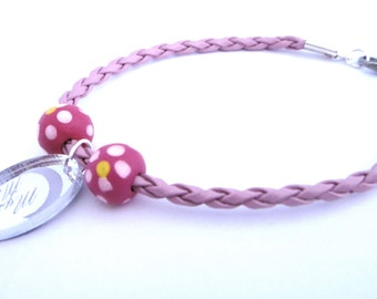Ibiza Baby Pink Leather Bracelet with Hot Pink Wooden Beads and Charm