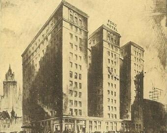 Ford Hotel Toronto Vintage Postcard 1931 ~ Historic Landmark Hotel in Downtown Toronto ~ Collectible Paper Ephemera