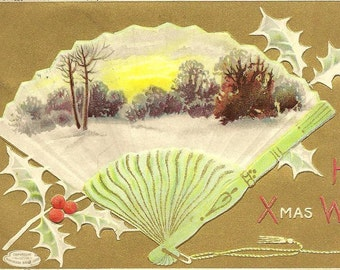 Hearty Xmas Wishes Winter Tree Scene in Fan Shape Vintage Christmas Postcard 1910 Davidson Brothers Publisher