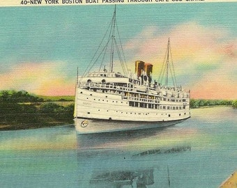 New York Boston Boat Passing Through Cape Cod Canal – Unused Vintage Linen Postcard