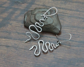 Hand forged Snake earrings on hooked earwires