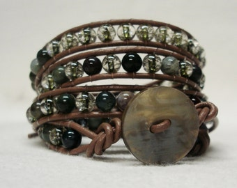 Wrap Around Leather Cord Bracelet with  Agate and Glass Beads