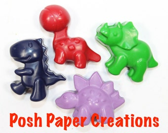 4 Dino Crayons - Assorted colors - in cello bag tied with ribbon