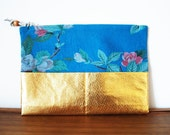 Upcycled Dusty Blue Floral Cloth and Gold Zippered Pouch