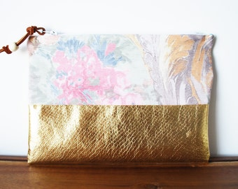 Upcycled Pastel Floral Cloth and Gold Zipper Pouch