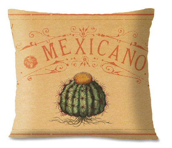 CACTUS Pillow Cover - 19thc. Lithograph - Mexicano Style Throw Pillow- Linen backing - Southwest Accent pillow
