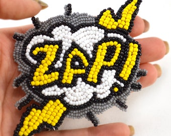 Electrifying Comic Book Hair Accessory ZAP Lightening Yellow and Gray Beaded Hair Clip