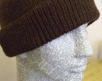 Natural brown alpaca beanie.