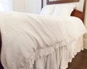 Ruffled Linen Queen Size Duvet Cover