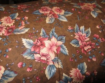 Cotton Fabric in Browns Pinks Blue Floral